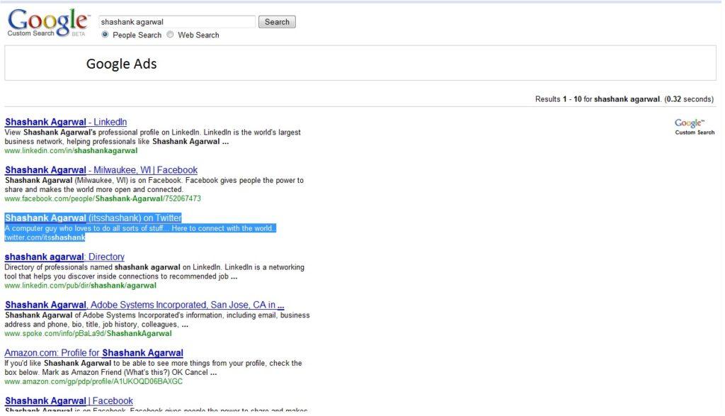 Google People SearchShashank Agarwal